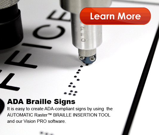 ADA Braille signs made on a Vision CNC Router or Engraver