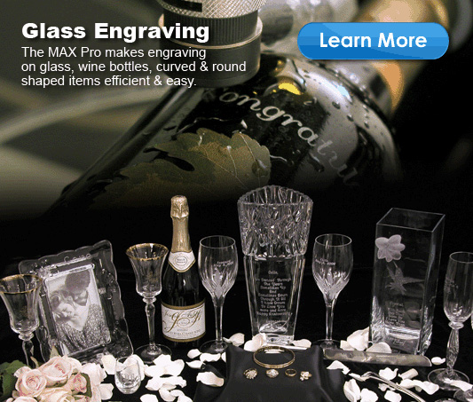 Glass engraving examples engraved on a Vision Engraving Machine
