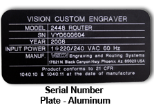 Engraved Serial Number Plate